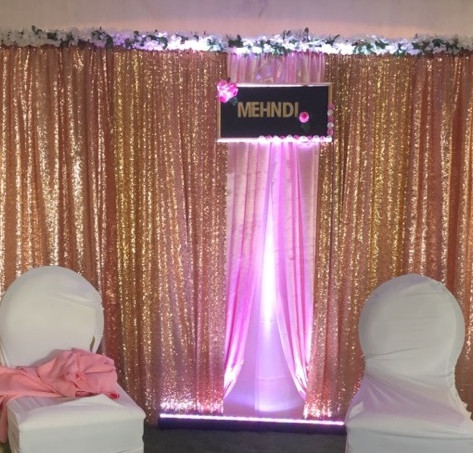 Gold sequin - Blush satin panel Backdrop