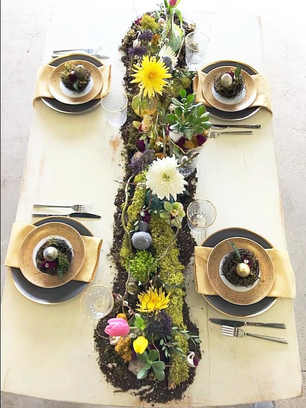 Moss and Soil Table Runner, Table Settings