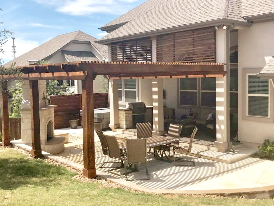Outdoor Patio, Fireplace and Pergola