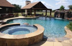 Outdoor Living setup with Pool, Cabana,