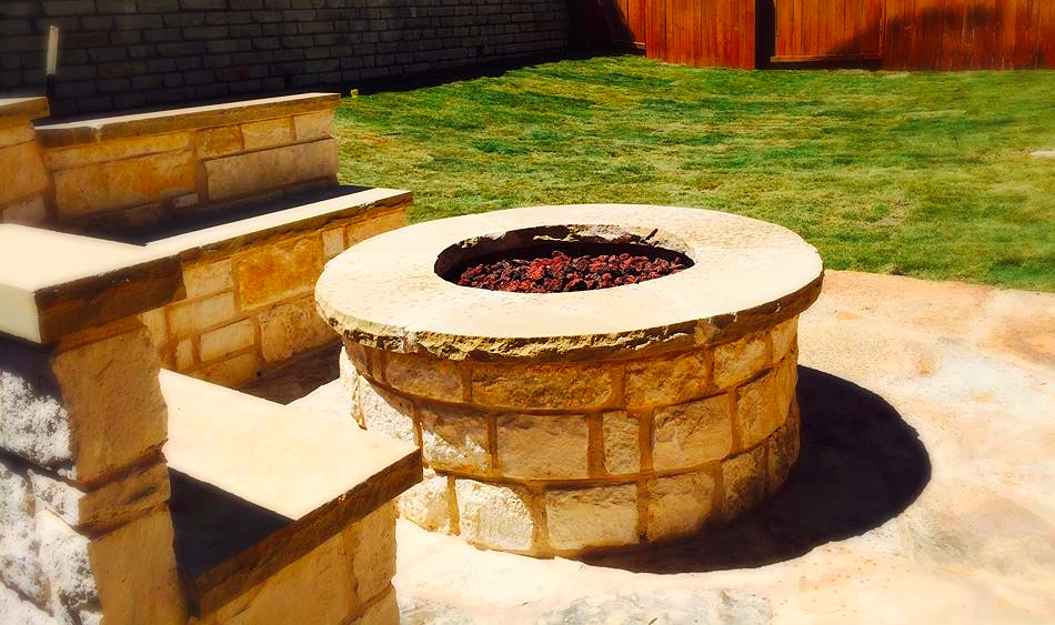Fire Pit, Bench, Patio & New Grass