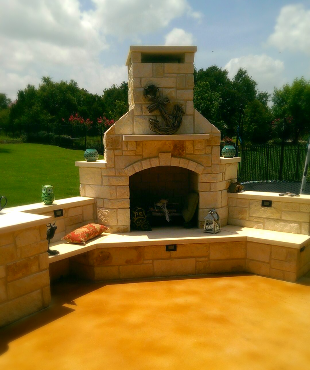 Fireplace and Stained Concrete Patio