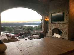 Fireplace with a Lake Travis view