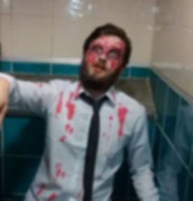 That's not fake blood, he just really likes red wine
