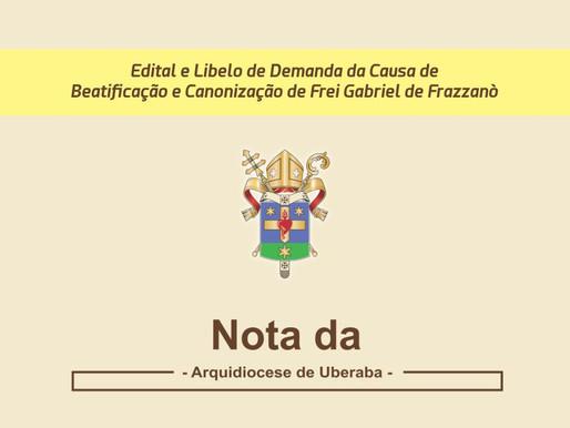NOTA - Edital e Libelo de Demanda da Causa de Beatificação e Canonização de Frei Gabriel de Frazzanò