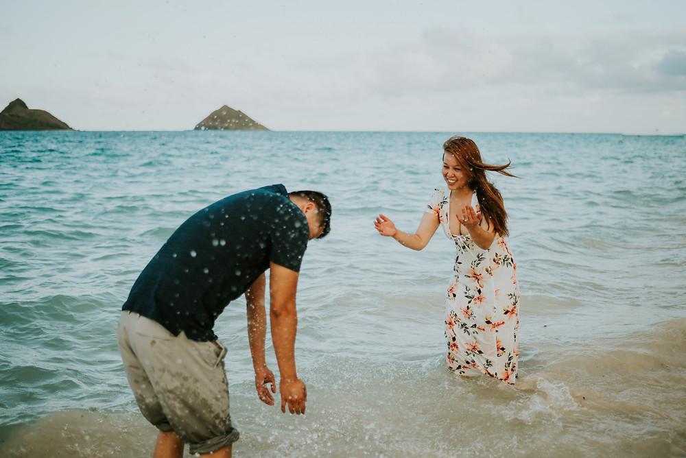 lanikai beach engagement