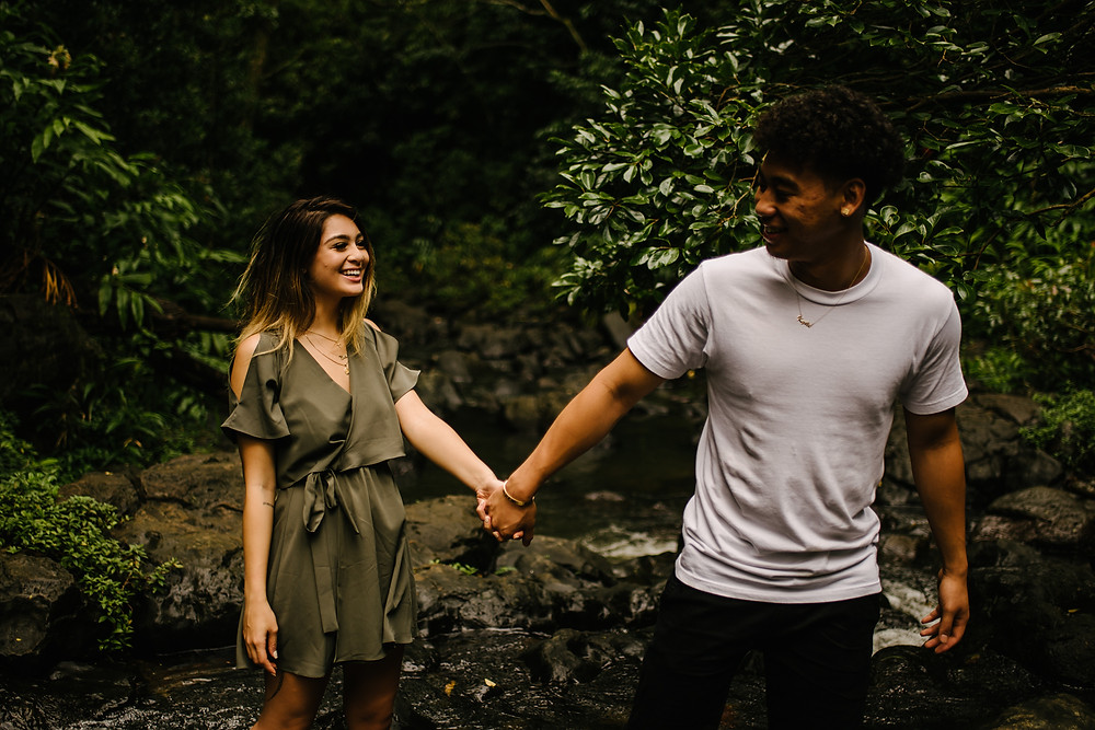 Oahu HI waterfall couples photographer