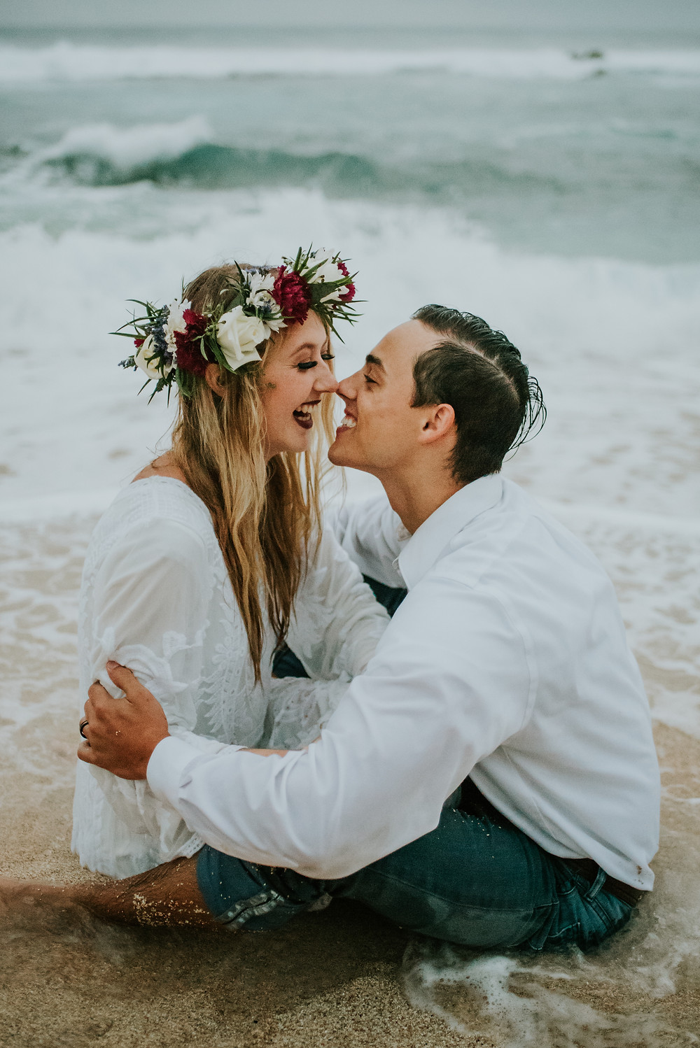 boho beach elopement