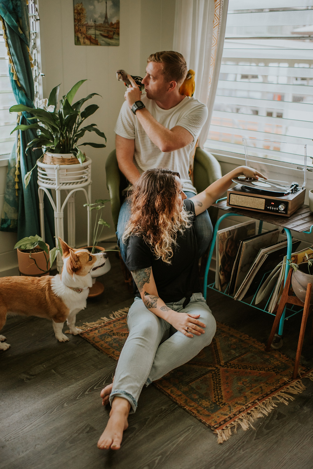 in couple couples session with dog