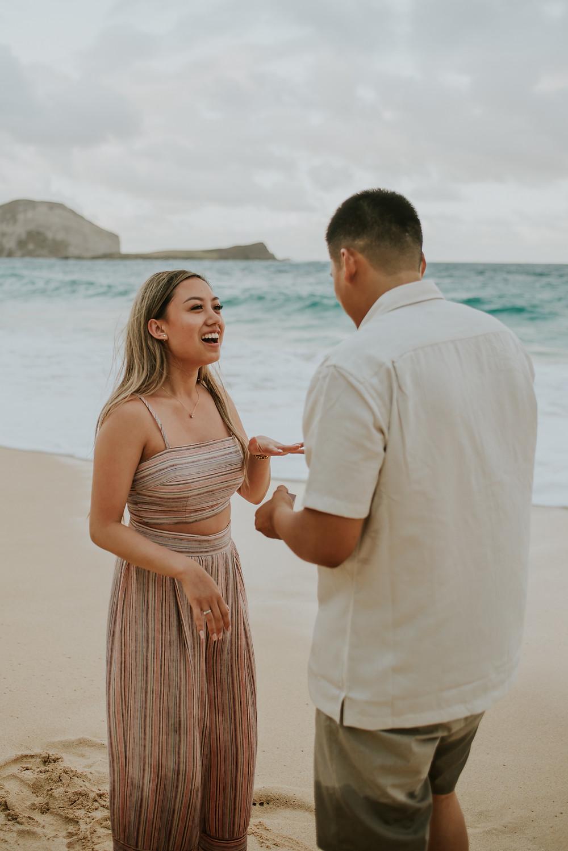 Oahu hawaii surprise proposal engagement session