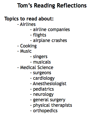 Example of a Reading Interest List