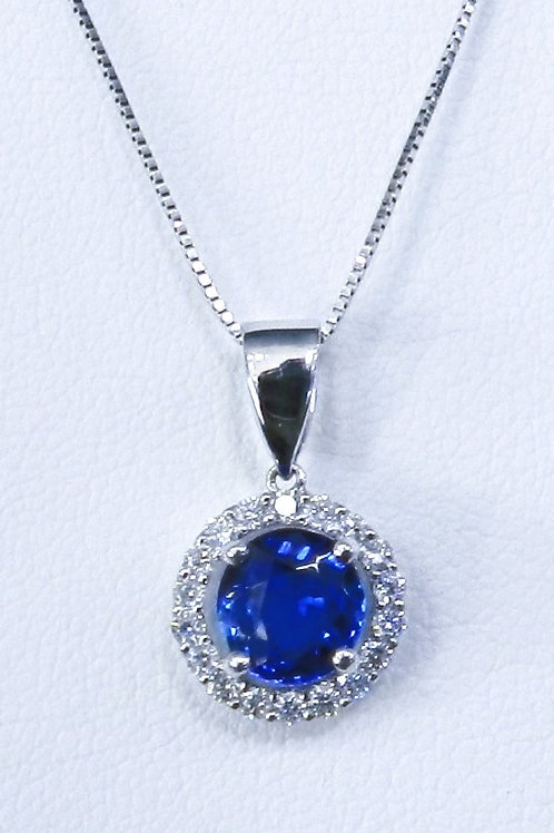 Natural Ink Blue Sapphire Diamond Pendant 18kt White Gold