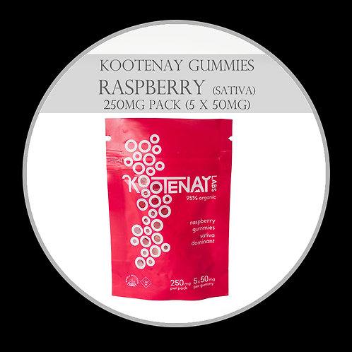 Kootenay Labs Gummies - 250mg/Bag Raspberry (Sativa)