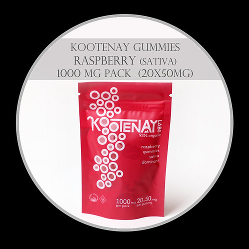 Kootenay Labs – High THC Gummies (1000mg Total) Raspberry (Sativa)