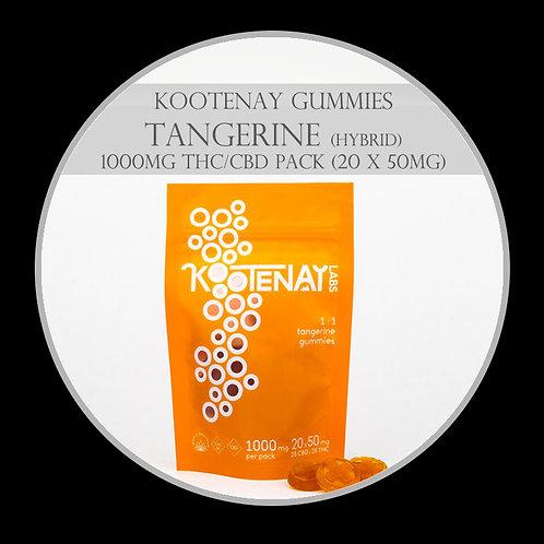 Kootenay Labs – 1000mg Tangerine Gummies 1:1 (Hybrid)