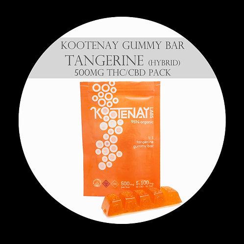 Kootenay Labs – 500mg Tangerine Gummy Bar 1:1 (Hybrid)