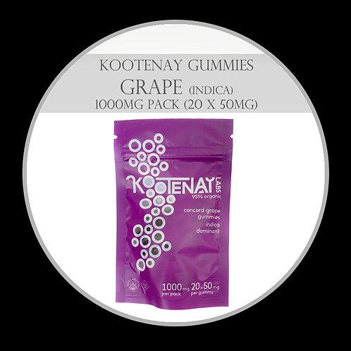 Kootenay Labs – High THC Gummies (1000mg Total) Grape (Indica)