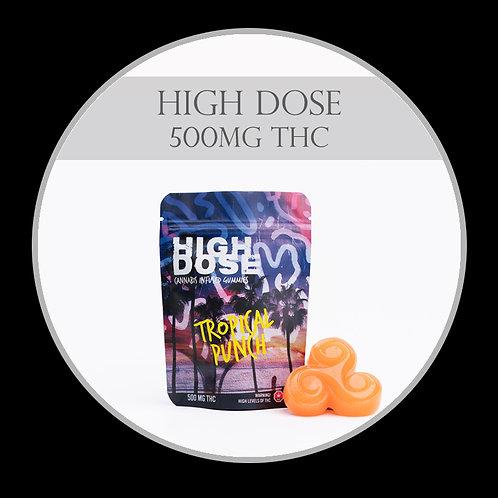 High Dose 500mg THC Gummies - Tropical Punch