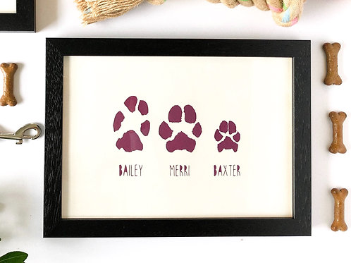 Custom Paws Print, A4 Framed