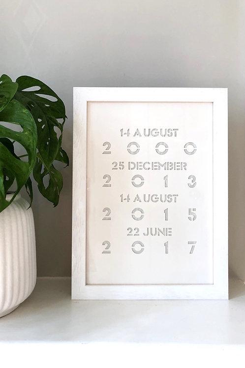 Framed Special Dates