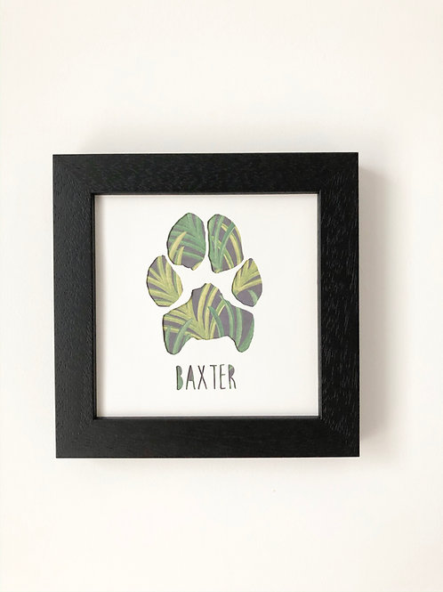 Paw Print in Square Frame