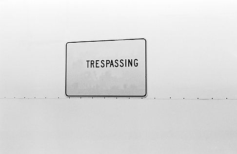 black and white, trespassing, sign, john o'toole