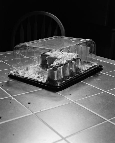birthday cake, half eaten
