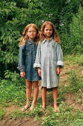 olivia noss, cousins, sisters, denim, outdoor, portrait