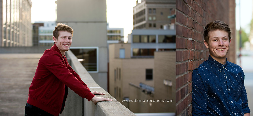 Senior pictures with city and brick wall
