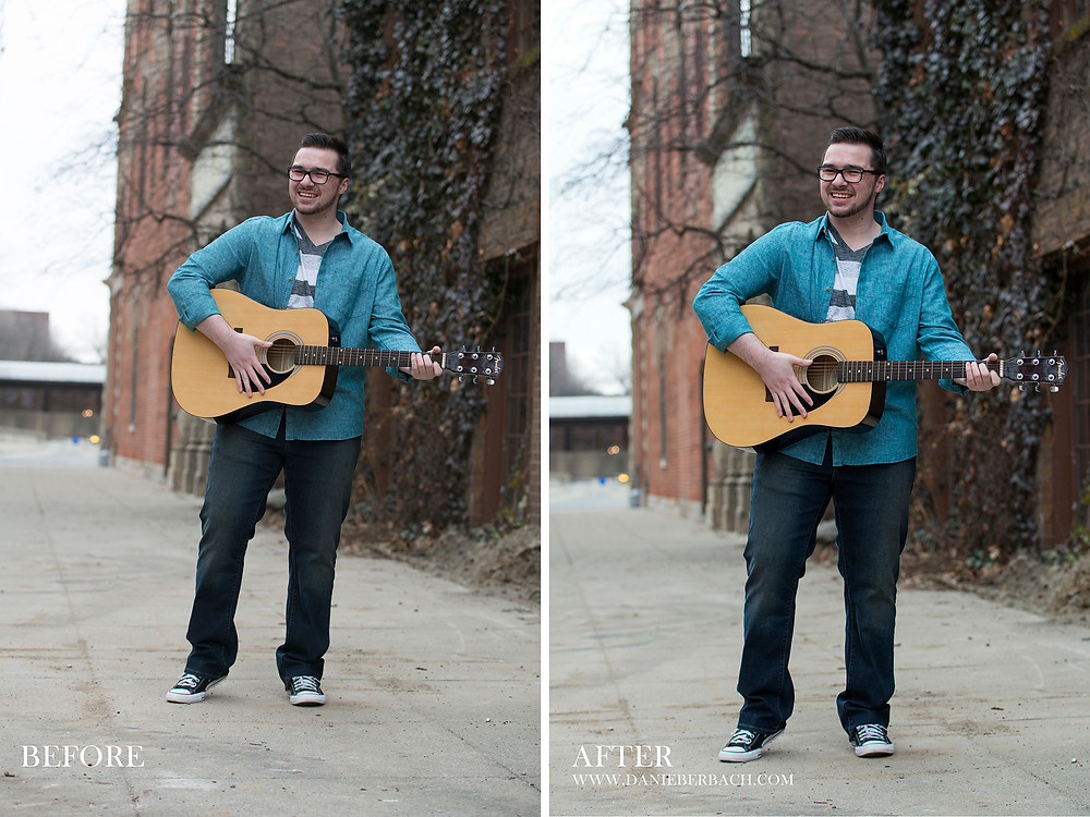 Before and After: Senior Portrait on Sidewalk with Guitar
