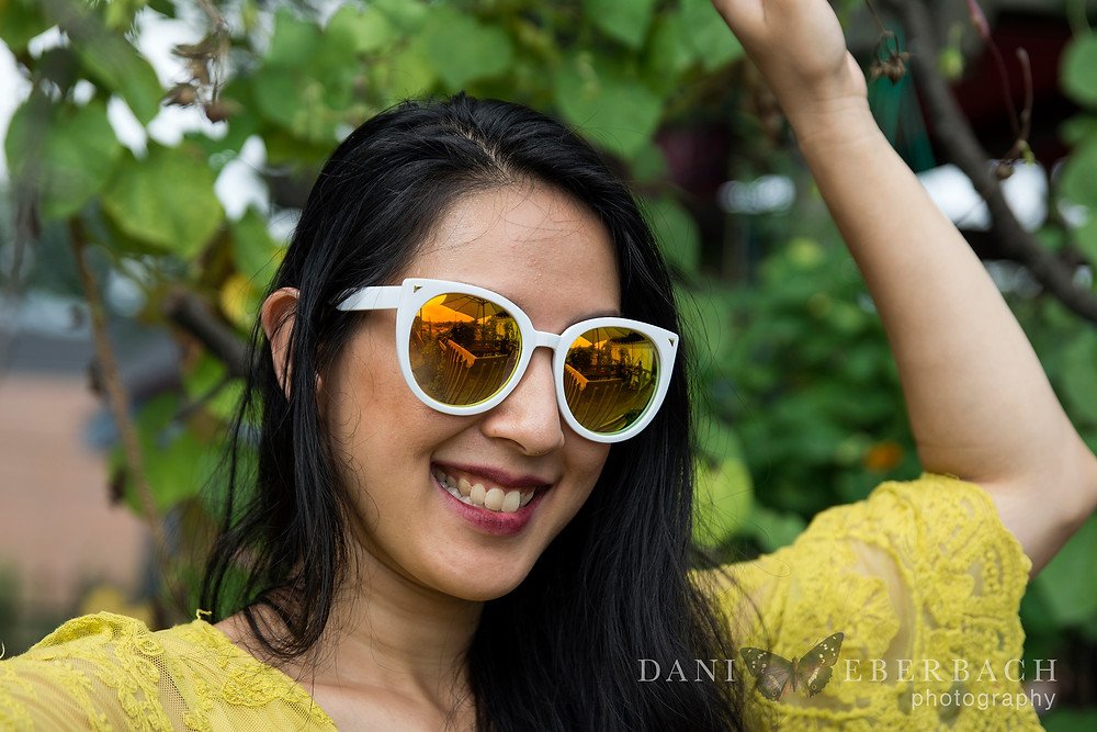 Julie outdoor portrait with sunglasses