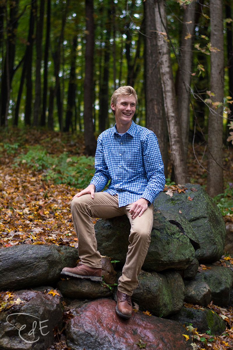 Fall senior pictures in woods at Pokagon State Park