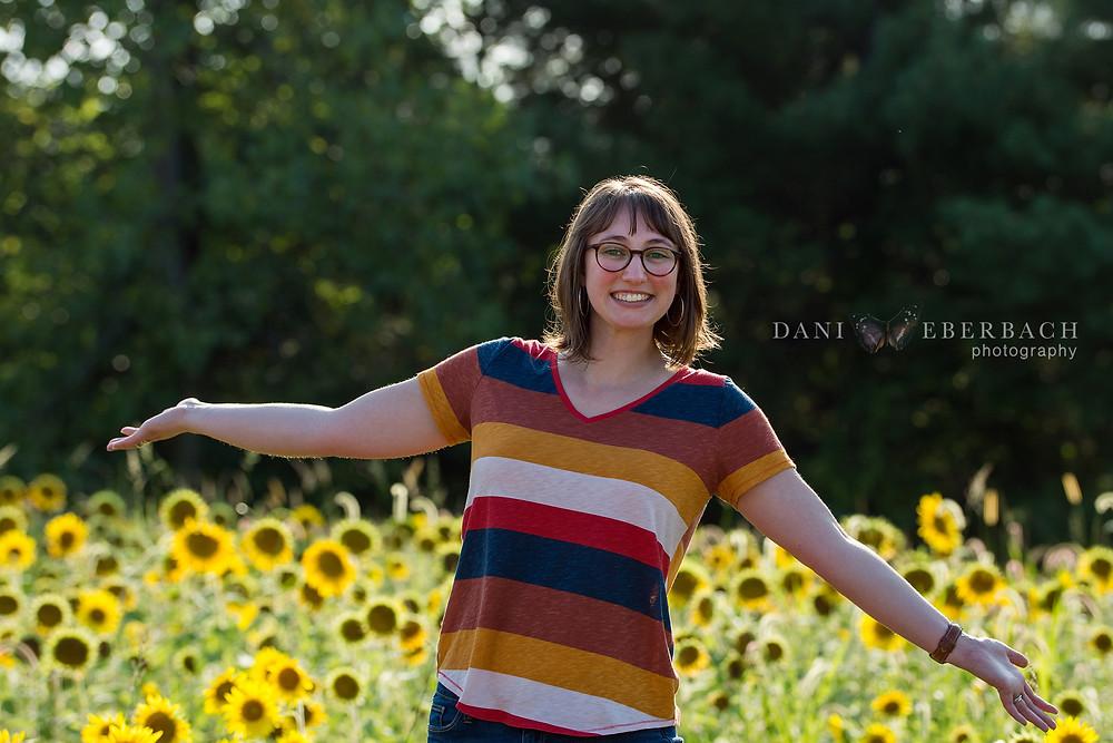 Self-portrait with sunflowers at Salomon Farm