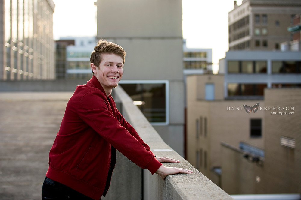 Senior pictures in Fort Wayne on top of parking garage