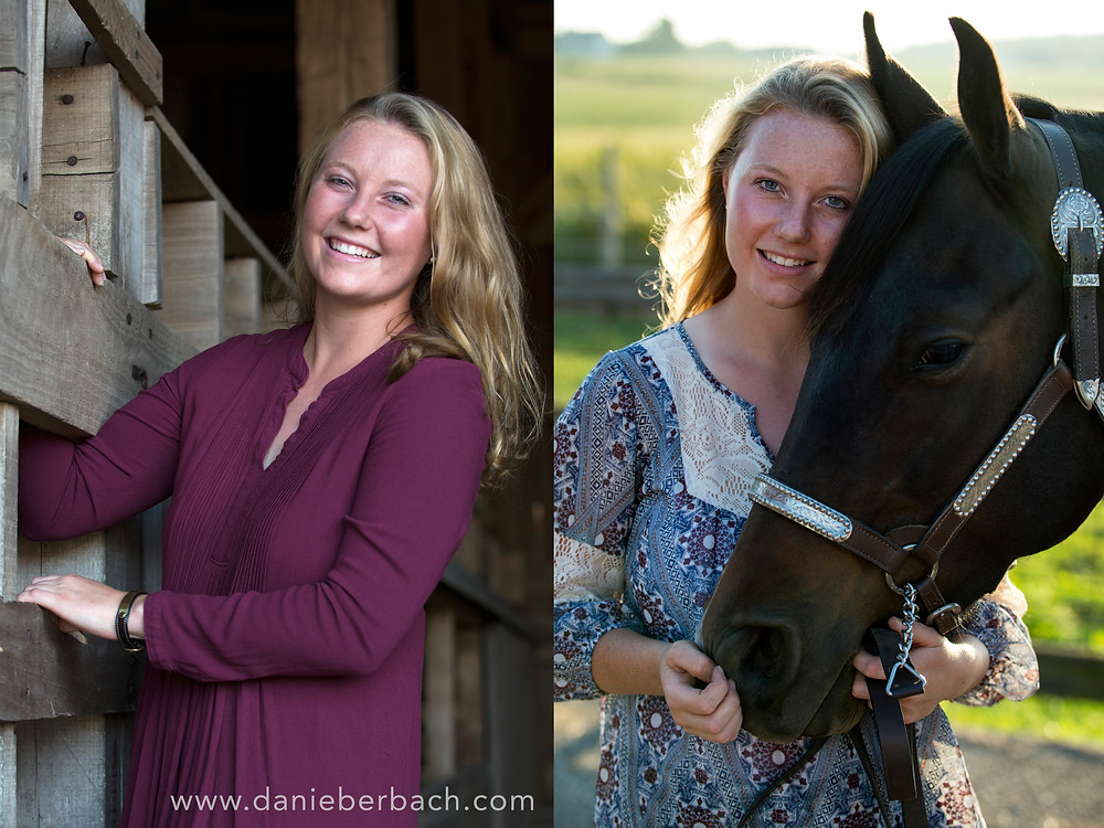 Senior portraits in barn and with horse