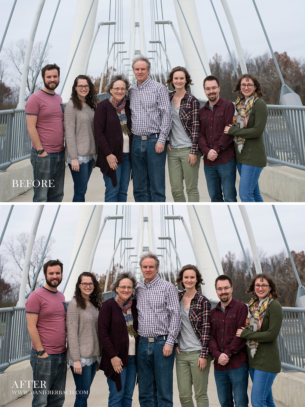 Before and After: Family Portrait on Bridge