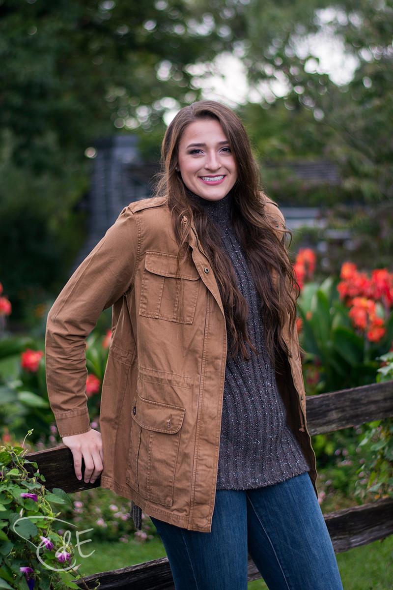 High school senior girl fall portrait at Foster Park