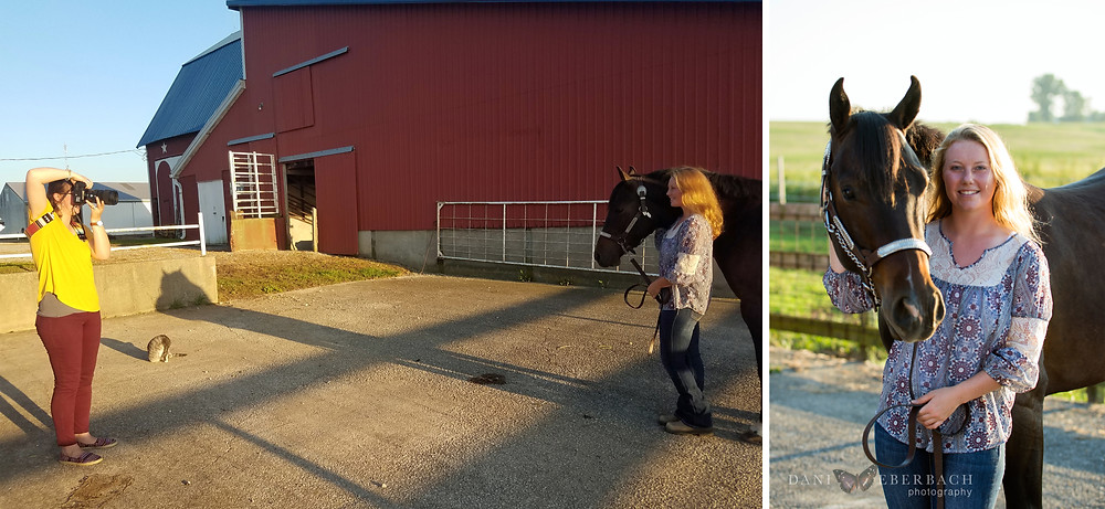 Taking senior pictures with a horse