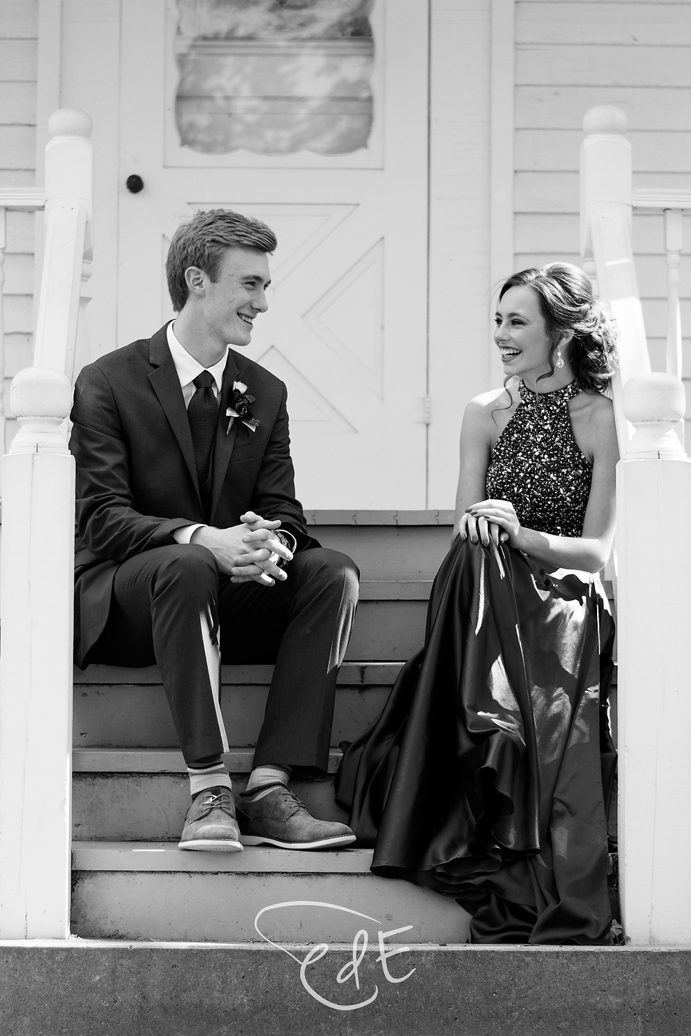 Black and white candid couple portrait