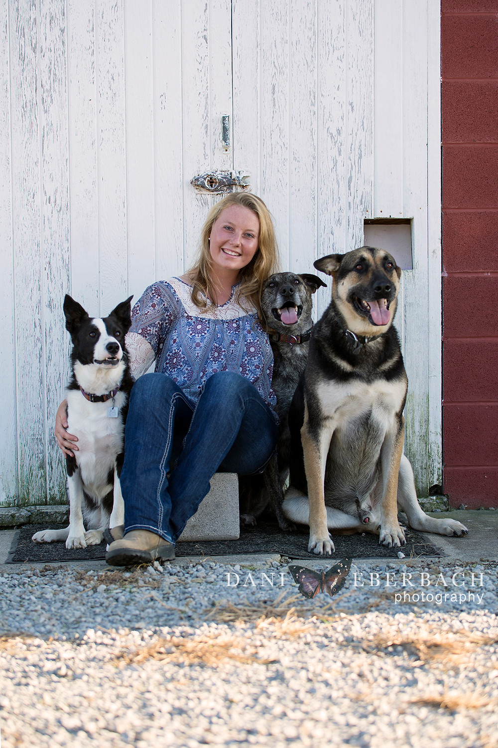 Portrait with three farm dogs