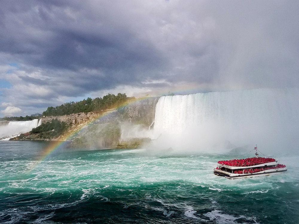 Rainbow and boat at Niagara Horseshoe Falls