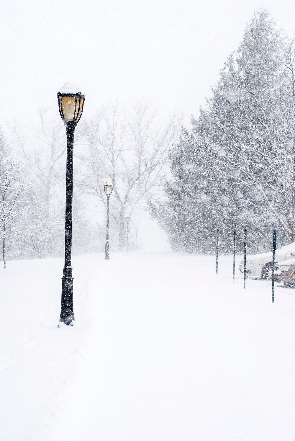 Lamppost and sidewalk in heavy snowfall