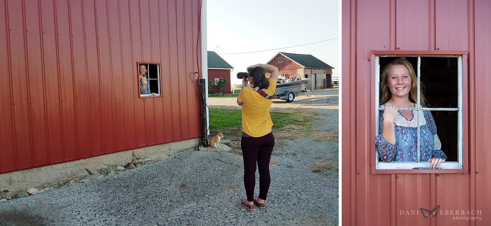 Senior pictures with barn window