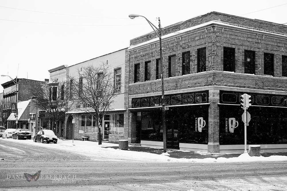 Downtown Auburn Indiana in snow