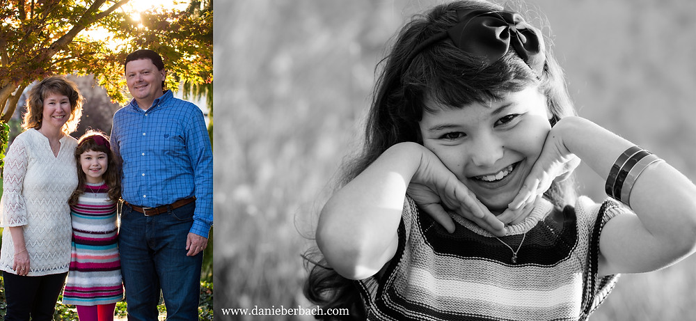 Fall family portraits of parents and daughter