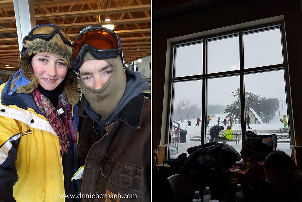 Selfie in window light at ski lodge