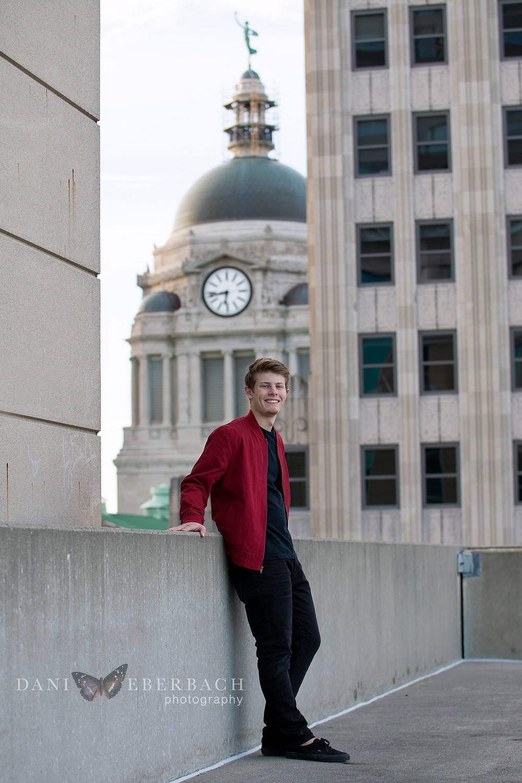 Downtown Fort Wayne rooftop senior portrait