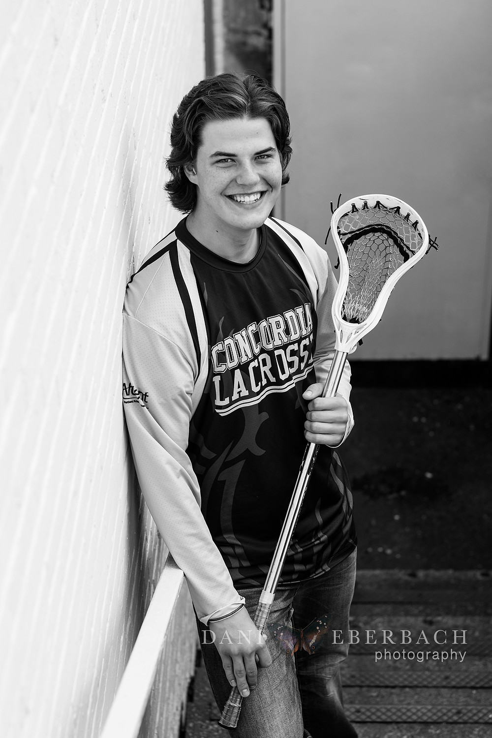 Black and white athlete senior portrait