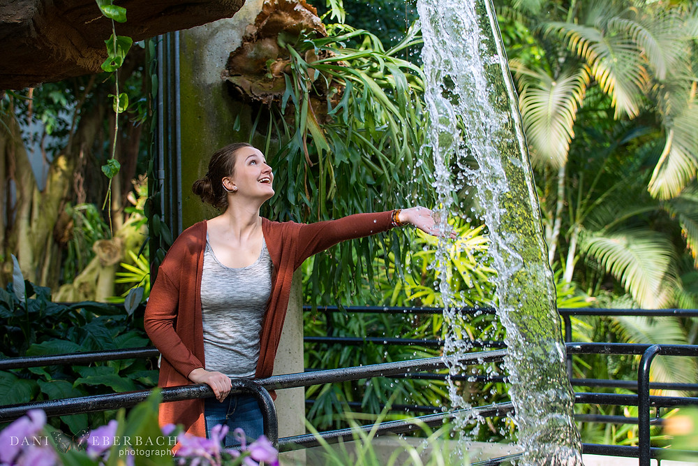 Portrait with waterfall at Botanical Gardens in Fort Wayne
