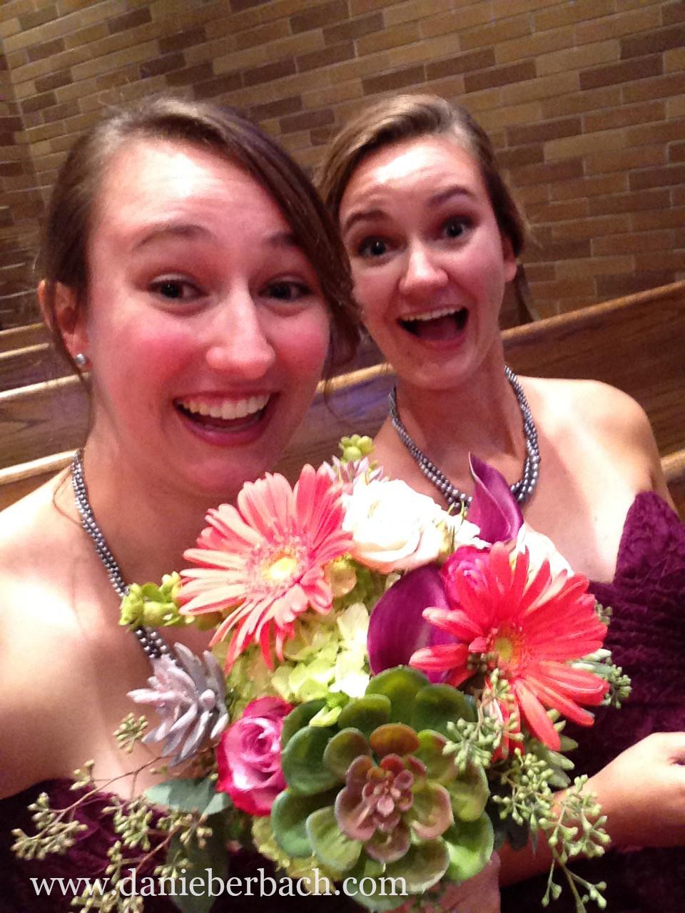 Bridesmaids selfie in church